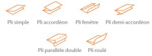 Types de plis disponibles en standard